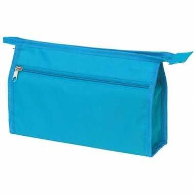 Voordelige toilettas turquoise blauw 28 cm voor heren/dames