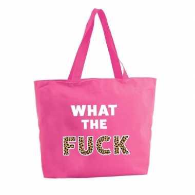 What the fuck shopper tas fuchsia roze 47 cm