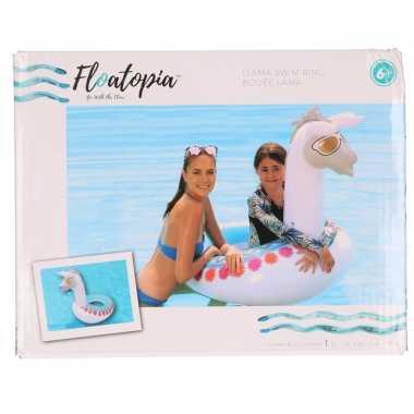 Witte opblaasbare alpaca/lama 96 cm zwemband/zwemring