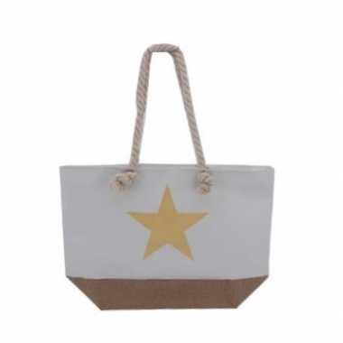 Witte strandtas met gouden ster 55 cm