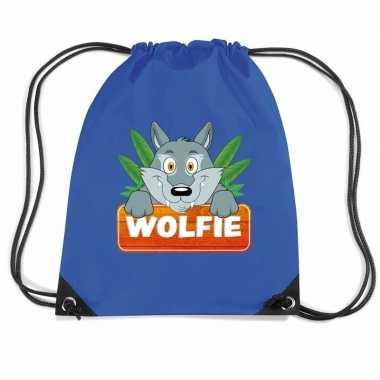 Wolfie de wolf rugtas gymtas blauw voor kinderen