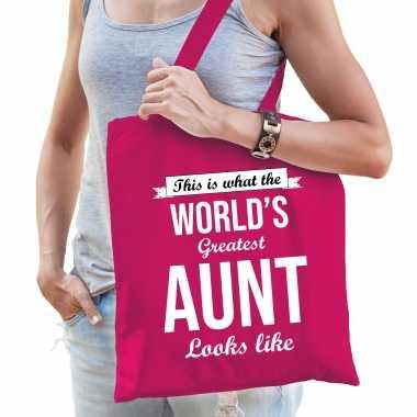 Worlds greatest aunt tante cadeau tas roze voor dames
