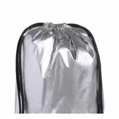 Zilver metallic gymtas met rijgkoord