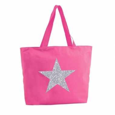 Zilveren ster glitter shopper tas fuchsia roze 47 cm