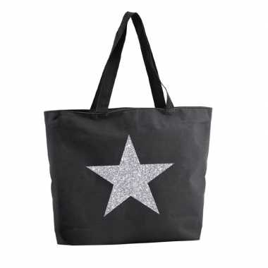 Zilveren ster glitter shopper tas zwart 47 cm