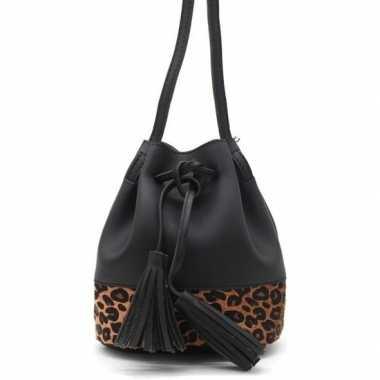 Zwart/bruin luipaardprint schoudertasje/bucket bag 30 cm