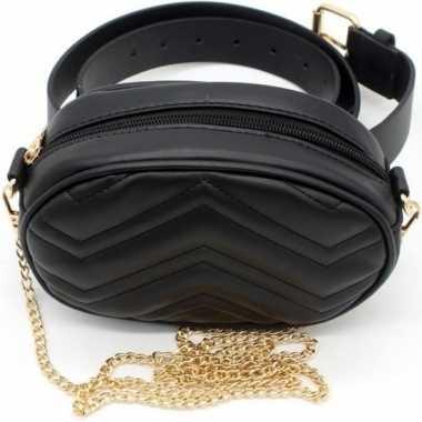 Zwart gestikt heuptasje/schoudertasje 19 cm voor meisjes/dames
