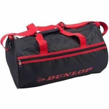 Zwart rode sporttas dunlop 50x30x30cm