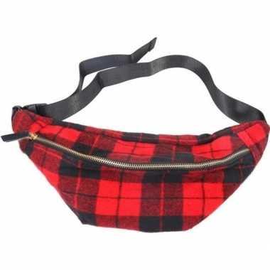 Zwart rood geruite heuptasje buideltasje 40 cm