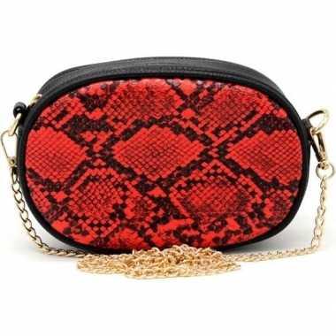 Zwart/rood slangenprint heuptasje/schoudertasje 19 cm