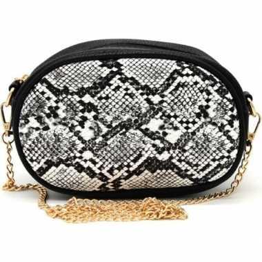 Zwart/wit slangenprint heuptasje/schoudertasje 19 cm