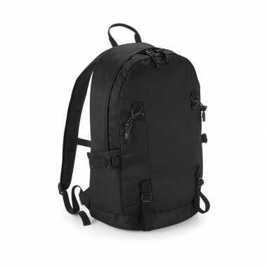 Zwarte rugzak/rugtas voor wandelaars/backpackers 20 liter