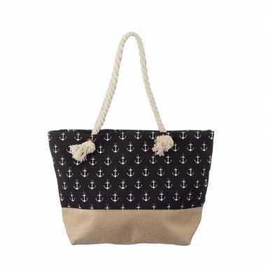 Zwarte strandtas met kleine witte ankers maritiem thema 50 cm