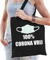 100 procent corona vrij katoenen tas zwart voor dames