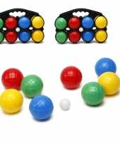 2x jeu de boules sets gekleurd in draagtas
