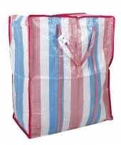 2x opbergtas boodschappentas raffia gestreept 52 x 26 x 62 cm