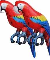 2x opblaasbare ara papegaaien vogels 25 cm decoratie speelgoed