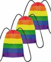 3x gymtasje rugtas rijgkoord regenboog rainbow pride vlag voor volwassenen en kids
