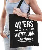 40ers zijn veel wijzer dan dertigers cadeau tas zwart voor dames
