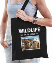 Alpaca tasje zwart volwassenen en kinderen wildlife of the world kado boodschappen tas