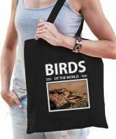Appelvink vogel tasje zwart volwassenen en kinderen birds of the world kado boodschappen tas