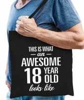 Awesome 18 year geweldig 18 jaar cadeau tas zwart voor heren
