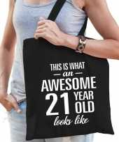 Awesome 21 year geweldig 21 jaar cadeau tas zwart voor dames