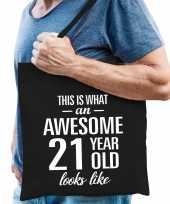 Awesome 21 year geweldig 21 jaar cadeau tas zwart voor heren