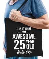 Awesome 25 year geweldig 25 jaar cadeau tas zwart voor heren