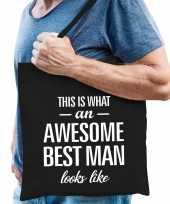 Awesome best man cadeau katoenen tas zwart voor heren