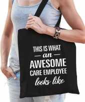 Awesome care employee zorgpersoneel cadeau tas zwart voor dames