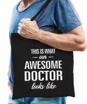 Awesome doctor dokter cadeau tas zwart voor heren