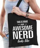 Awesome geweldige nerd cadeau tas zwart voor dames