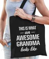 Awesome grandma oma cadeau tas zwart voor dames