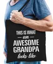Awesome grandpa opa cadeau katoenen tas zwart voor heren
