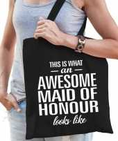 Awesome maid of honor getuige cadeau tas zwart voor dames