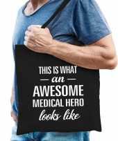 Awesome medical hero held cadeau tas zwart voor heren