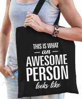 Awesome person persoon cadeau tas zwart voor dames