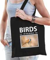 Baardmannetje vogel tasje zwart volwassenen en kinderen birds of the world kado boodschappen tas