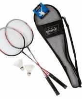 Badminton set zilver rood met 2 shuttles en opbergtas