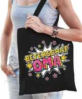 Beterschap oma katoenen cadeau tas zwart voor dames