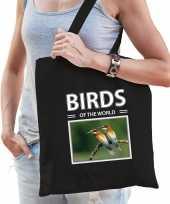 Bijeneter vogel tasje zwart volwassenen en kinderen birds of the world kado boodschappen tas