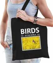 Blauwborst vogel tasje zwart volwassenen en kinderen birds of the world kado boodschappen tas