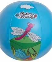 Blauwe bloemen opblaasbare strandbal 29 cm speelgoed