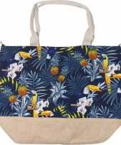 Blauwe strandtas tropische vogel print 52 cm