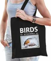 Boomklever tasje zwart volwassenen en kinderen birds of the world kado boodschappen tas