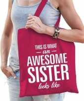 Cadeau tas van katoen awesome sister roze