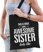 Cadeau tas van katoen awesome sister zwart