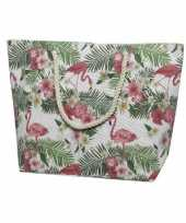 Canvas strandtas shopper met flamingo print 38 cm