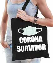 Corona survivor katoenen tas zwart voor dames